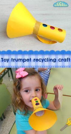 Recycle that old kitchen roll or paper towel tube to make this fun toy trumpet! … Recycle that old kitchen roll or paper towel tube to make this fun toy trumpet! A great craft for little ones to make and play with afterwards! Kids Crafts, Toddler Crafts, Preschool Crafts, Toddler Activities, Decor Crafts, Paper Craft For Kids, Cardboard Crafts Kids, Preschool Music Activities, Oral Motor Activities