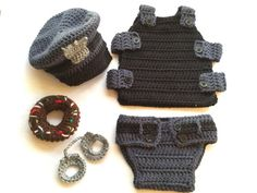 CROCHET PATTERN ONLY: Baby policeman outfit with polic hat, vest, diaper cover, donut and hand cuffs! Perfect for baby shower gifts and photography