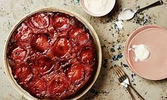 Thomasina Miers' recipe for duck breast with figs, plus a winner of a plum upside-down cake