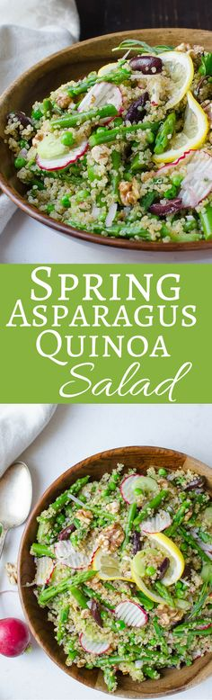 This easy, vegan, quinoa salad recipe is an ode to Springtime! With tender asparagus, fresh peas, briny olives and crunchy cucumber and radishes in a tangy lemon shallot vinaigrette.