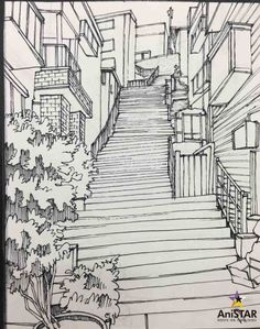 Perspective Drawing Lessons, Perspective Art, Art Sketches, Art Drawings, Landscape Sketch, Background Drawing, Poses References, Urban Sketching, Art Sketchbook