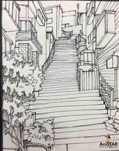 골목길 배경 그리기 과정!![강사 연구작][인천구월애니스타미술학원] : 네이버 블로그 Perspective Drawing Lessons, Perspective Art, Art Sketches, Art Drawings, Landscape Sketch, Illustration Art, Illustrations, Background Drawing, Urban Sketching
