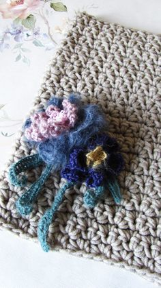Flowers On The Sand - Hand Crocheted Cowl - Infinity Scarf - Ready To Ship by KatyaCrochetNest on Etsy