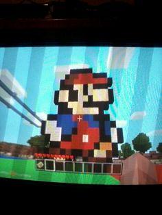 Mario, Minecraft, pixel art
