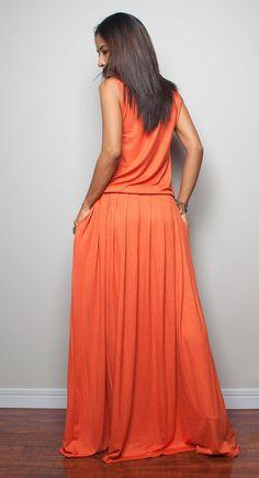 Orange Maxi Dress Sleeveless dress : Autumn Thrills by Nuichan