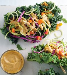Cucumber Kale Wraps with Zesty Peanut Sauce