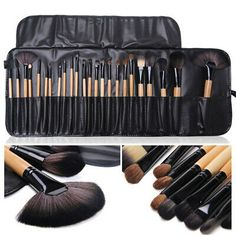 H3E Pro 24 Pcs Makeup Brushes Cosmetic Tool Eyeshadow Powder Brush Set w Case