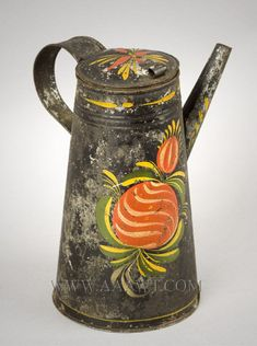 Coffee Pot, American Painted Tin, Tole, Straight Spout, Painted Flowers Pennsylvania Circa 1825 -