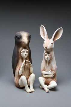 By Crystal Morey.  Ceramic sculptures based on different representations of human with elements from the animal world, these creations resembling totems plunge us into a world apart.