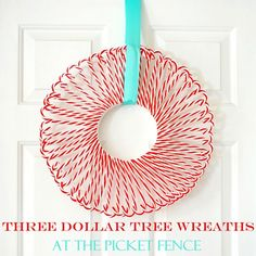 Peppermint Candycane Wreath made from Dollar Tree plastic candycanes