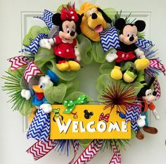 Mickey Mouse Welcome Wreath by SparkleForYourCastle on Etsy, $159.00