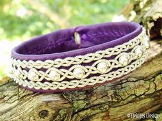 Swedish Sami Reindeer Leather Bracelet - Purple YDUN with Sterling Silver beads braided with Spun Pewter thread Handmade Scandinavian Design from Tjekijas