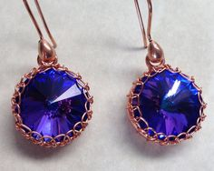 Jewelry swarovski earrings wirework earrings purple earrings copper earrings crystal earrings rivoli earrings round earrings