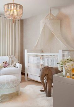 Traditional Nursery Designs For Baby Girls Nursery design featuring cream colours, canopy, and neutral grey accessories.Nursery design featuring cream colours, canopy, and neutral grey accessories. Baby Bedroom, Nursery Room, Girl Nursery, Girl Room, Kids Bedroom, Baby Rooms, Nursery Decor, Room Baby, Elephant Nursery