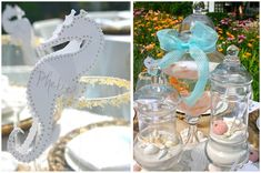 Seahorse place cards and apothecary jars filled with sand and shells. From Boothe Blanton Farley's daughter's birthday party.