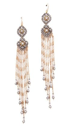 $184 Miguel Ases Gold & Pyrite Fringe Earrings