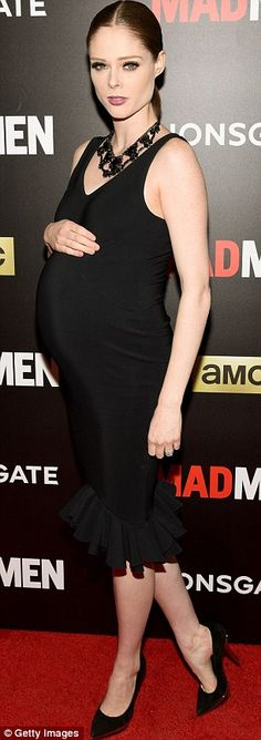 Flaunting her pregnant figure, supermodel Coco Rocha looked radiant in a black body-con cocktail dress while attending the 'Mad Men' season premiere. Celebrity Maternity Style, Stylish Maternity, Maternity Wear, Maternity Fashion, Celebrity Style, Summer Maternity, Pregnant Model, Pink Satin Dress, Bias Cut Dress
