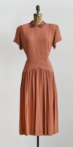vintage 1940s muted copper rayon dress from Adored Vintage