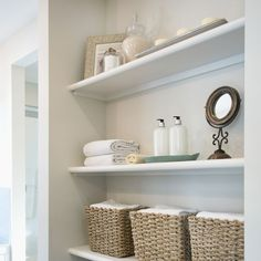 Looking for the best linen closet organization ideas? Check out these easy ways to organize your linen closet, so you can store your sheets neatly and create a comfortable guest experience at the same time. Bathroom Shelves, Bathroom Storage, Small Bathroom, Bathrooms, Ikea Bathroom, Bathroom Cabinets, Modern Bathroom, Bathroom Vanities, Master Bathroom