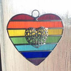 Striped Stained Glass Heart Suncatcher Window Decoration  | eBay Making Stained Glass, Rainbow Star, Mauritius, Suncatchers, St Kitts, Tanzania, Fused Glass, Windows, Decoration