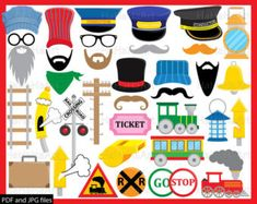 Train Props - ClipArt PDF JPG Digital Graphic Design Commercial Use Instant Download Clip Art Prop Photo Booth Funny Party Hat (00212)