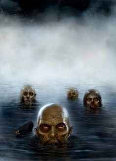 Land of the Dead - Artist Unknown (I have had recurring nightmares about Lake Zombies since I was about 4 years old. Zombies coming out of water are one of the few horror movie things that creeps me out. Zombie Mask, Dead Zombie, Rob Zombie, Horror Art, Horror Movies, Funny Horror, Zombie Survival Vehicle, Zombies, Evil Dead