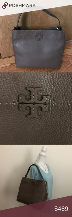 """Tory Burch Mcgraw Pebbled Leather Hobo Bag Tory Burch Mcgraw Pebbled Leather Hobo Bag Current Style: Silver Maple Color Sold Out in Stores. Retails currently for $478 Authentic Tory Burch Mcgraw in Silver Maple Pebbled Leather with Tonal Stitching. Flat Top Handle with 6"""" drop Anchored by Silvertone Rings. Open Top with Magnetic Closure. Interior has 1 zip & 1 slip pocket Exterior has Tory Burch T Logo at Front Center Measurements: 13.1""""H x 12.5""""W x 5.6""""D NWT & Comes in Tory Burch Dust Bag…"""