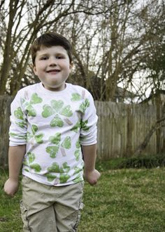 Make an easy potato stamped shamrock shirt for St. Patrick's Day.