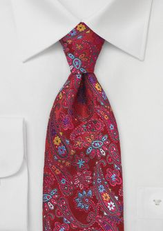 Valentine's Day Gifts for Him Under $20: Paisley Patterned Tie in Red, $20 | Cheap-Neckties.com