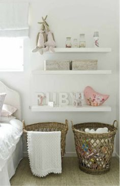 girls room. Perfect. Natural baskets, lots of white.