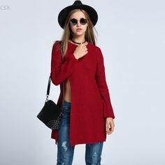 New Fashion Women's O-Neck Drop-Shoulder Sleeve Solid Loose Side Long Sweater Woman's Clothing