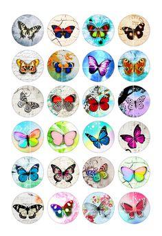Images art colorés papillon imprimable pour fabrication de bijoux, Cabochons, pampilles, capsules de bouteilles, Scrapbooking, aimants. Téléchargement instantané. 24 images uniques.  Images de cercle ■ de 1,5 pouces, 35mm, 30mm, 25mm et 1 pouce, chaque taille sur un autre collage de