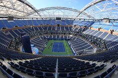 Arthur Ashe Stadium has a different look after the construction of part of a retractable roof. Ny Times, New York Times, Us Open, Sports News, Fair Grounds, Tennis, Top, Crop Shirt, Shirts