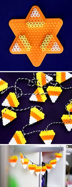 Make Halloween DIYs when you are bored – DIY Candy Corn Perler Bead Garland … - Diy and Crafts Diy Perler Beads, Perler Bead Art, Halloween Beads, Halloween Crafts, Fall Crafts, Holiday Crafts, Pearler Bead Patterns, Perler Patterns, Zoe S