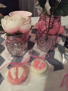 Grey chevron, pink & white Baby shower table decorations