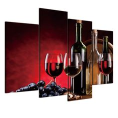 canvas painting Wall Art HD print 4 panels Red Wine Grape Cup pictures For Living Room Kitchen Decoration Home Decor Red Wall Decor, Home Decor Wall Art, Wine Wall Art, Kitchen Wall Art, Living Room Red, Living Room Kitchen, Types Of Art Styles, Living Room Pictures, Wall Art Sets