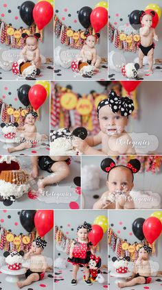 first birthday, girly cake smash, cake smash, smash cake, first birthday cake smash session, balloons and polka dots birthday_first_photography_ideas_tea_party_theme_minnie_mouse_cake_smash