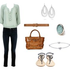 Citizen jeans, mint/blue top outfit., created by hs110