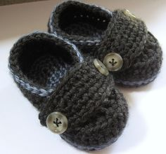 #Crochet baby booties like these little button loafers. These are great to make for a baby shower! I can't get over how adorable they are.