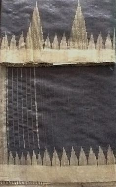 """Tussar Silk Saree with woven temple border with woven striped blouse  Color Grey and Offwhite  Length-5.5m sari+ 1 m blouse  Width-44"""" or above  Wash Instructions-Dry wash only  This tussar silk saree has grey body with off-white ghicha woven border and zari and ghicha woven pallu with striped woven blouse. A very rich yet elegant saree to wear for all occasions! The striped blouse gives a very contrasting look."""