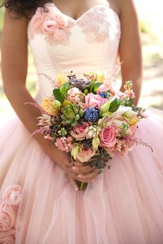 Bright Rose, Astilbe and Succulent Bouquet | Photo: M Place Productions | Bouquet: Layers of Lovely