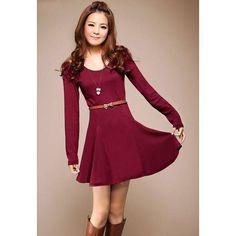 Sweet Scoop Neck Flared Hem Slim Fit Off-The-Shoulder Solid Color Women's Dress, WINE RED, ONE SIZE in Long Sleeve Dresses   DressLily.com