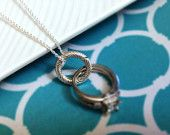 Twisted Infinity Circle Wedding / Engagement Ring Holder / Holding Pendant Sterling Silver  18mm, 20mm, or 22mm