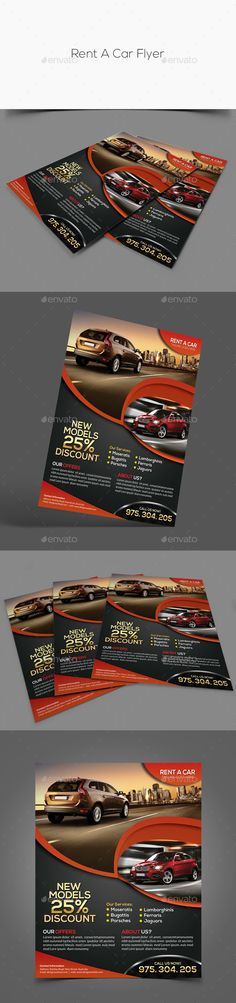 Rent A Car Bundle Templates Auto, Volantini e Photoshop - car flyer template