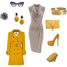 Gray/yellow. Fun palette. Not sure I could wear the shoes. Very cute, though.