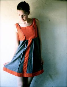 Panel dress in orange and grey sale by larimeloom on Etsy, €133.00