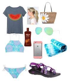 """""""day at the beach in st Thomas"""" by mkhays on Polyvore featuring Kate Spade, Chaco, LifeProof and Ray-Ban"""