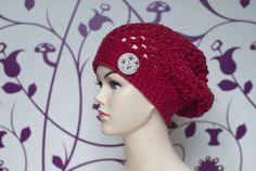 Red beanie with dandelion button. So cute.