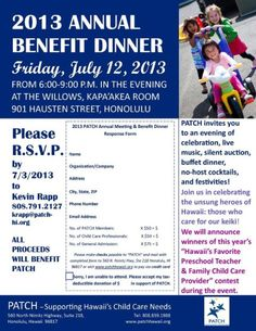 Honolulu, HI PATCH invites you to an evening of celebration, live music, silent auction, buffet dinner, no-host cocktails and festivities. Join us in the unsung heroes of Hawaii: those who care for our keiki! Click flyer for more >>