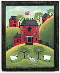 Red Star House with Sheep & Horse Folk Art Print